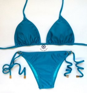 Biquíni de Lacinho com argolas e busto cortininha Azul Acapulco