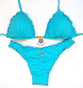 Empina Bumbum fechado com busto cortininha ripple Azul Turquesa