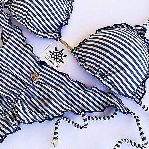 Empina Bumbum Lacinho com busto cortininha ripple estampa Listras Marinho e Branco