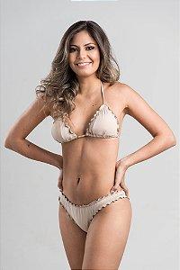 Empina Bumbum Fechado com busto cortininha ripple com bojo removível Nude
