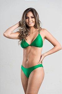Biquíni Jeri empina bumbum fechado com busto cortininha fixo com bojo removível Verde Luxo