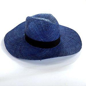 Chapéu de Palha Natural Aba Grande Azul