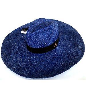 Chapéu de Palha Natural Aba Gigante Azul