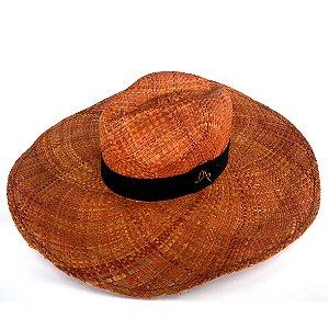 Chapéu de Palha Natural Aba Gigante Laranja