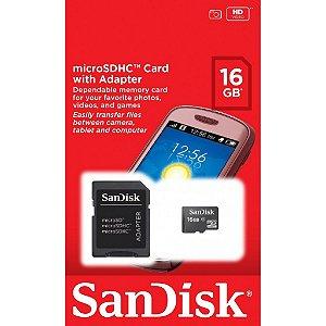 Cartão de Memória SanDisk MicroSD 16GB com Adaptador SDSDQM-016G-B35A