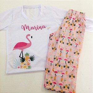 Pijama Personalizado Longo Flamingo