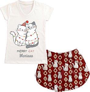 Pijama Personalizado Natal Merry Cat