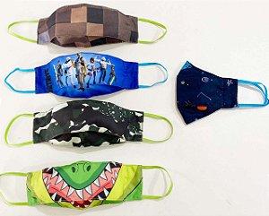 Kit Máscara 3D Infantil Masculino -5 UNIDADES