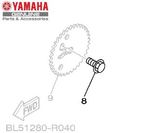 PARAFUSO DA COROA DA CORRENTE DE COMANDO PARA NEO125 UBS ORIGINAL YAMAHA