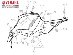 TAMPA LATERAL ESQUERDA DO TANQUE MT-07 ORIGINAL YAMAHA