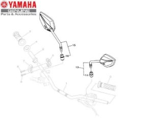 ESPELHO RETROVISOR PARA XTZ250 NOVA LANDER ABS 2020 ORIGINAL YAMAHA