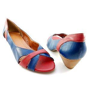 Saltinho Peep Toe Amadeirado em Azul Marinho e Detalhe Vermelho E36-203