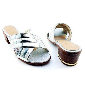 Sandália Salto Baixo Tiras Trançadas Prata Espelhadas Salto Amadeirado - C23-223