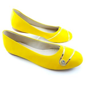 Sapatilha Amarelo Vintage Detalhe Botão Dourado - E27-0903