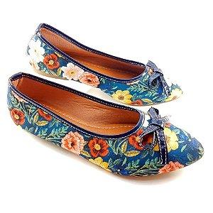 Sapatilha em Tecido Azul Marinho Floral e Laço Preto - E08-1139