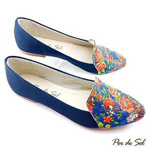 Slipper Azul Marinho em Nobuck e Frente em tecido Floral - C20-1324