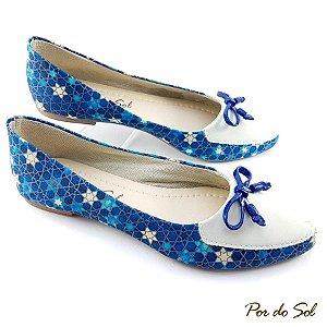 Sapatilha Estilo Mocassim Azul Estrelado Bico Branco em Nobuck - D07-1412