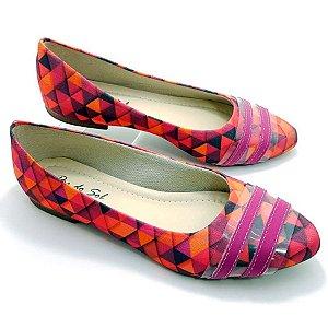 Sapatilha Mosaicos Coloridos Tiras Pink - D28-1657