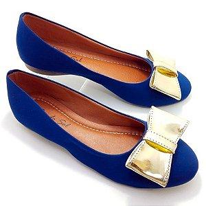 Sapatilha Azul Marinho em Nobuck Laço Dourado - E31-1677