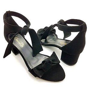 Sandália com Tecido Suede Preto e Tiras - Salto Bloco Baixo E36-293