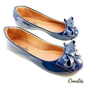 Sapatilha Azul Marinho Verniz Laço Princesa - C06-1732