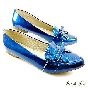 Mocassim em Verniz Azul Metálico - SP1763