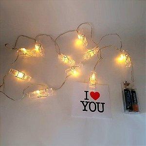 Fio de luz LED com clipes em acrílico para 10 fotos - P0151