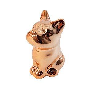 Bulldog em Cerâmica Rosê Gold - P0155
