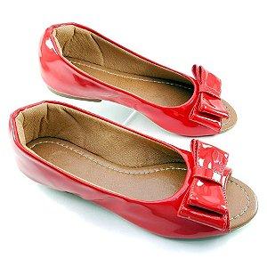 Peep Toe em Verniz Vermelho com Laço - SP1817