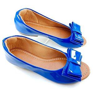 Peep Toe em Verniz Azul com Laço - B22-1818