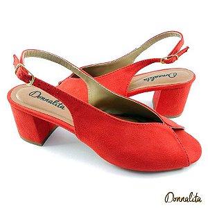 Sandália em tecido Suede Vermelho - Salto Bloco C23-305