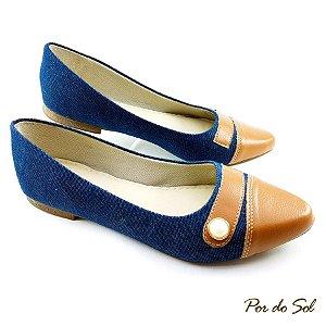 Sapatilha Jeans com Detalhe Conhaque e Pérola - SP1871