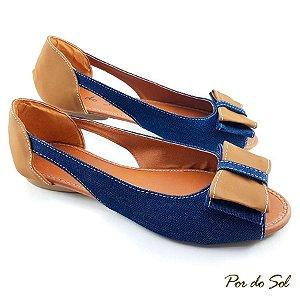 Peep Toe Aberta na Lateral em Jeans e Laço em Napa Conhaque - SP2071