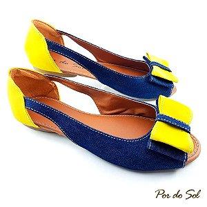 Peep Toe Jeans Escuro e Amarelo Aberta na Lateral - SP2074