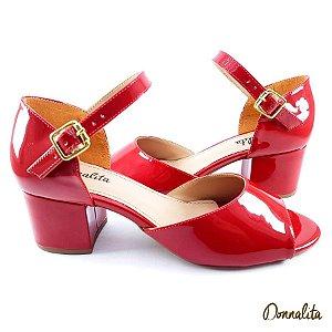 Sandália Vermelha em Verniz com Salto Baixo Bloco - E21-329