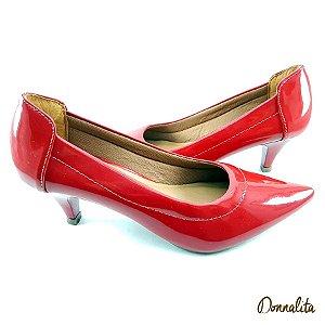 Scarpin Vermelho Verniz com Salto Baixo Fino - SAN334