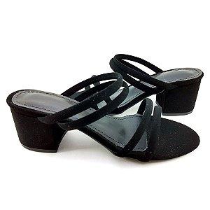 Sandália com Tiras Preto Salto Bloco com 5cm - HK223
