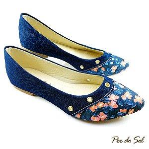 Sapatilha Jeans com Bico floral e Ilhós - E44-2162
