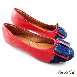 Sapatilha em Napa Vermelho com Bico Jeans e Laço - SP2190