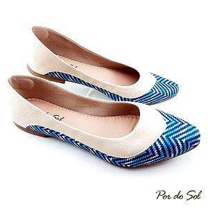 Sapatilha com Listras Azul e Napa Gelo - SP2248