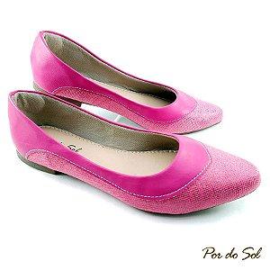 Sapatilha em Tecido Glitter Pink em Detalhe Napa - C06-2272