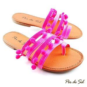 Rasteira com Tiras Rosa Neon com Pompom Neon - E12-2300