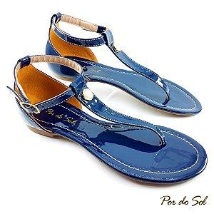 Rasteira em Verniz Azul Marinho com ABS Perola - C30-2314