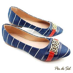 Sapatilha em Jeans Marinho com Linhas Brancas e Detalhe Vermelho, ABS Dourado - A07-2340