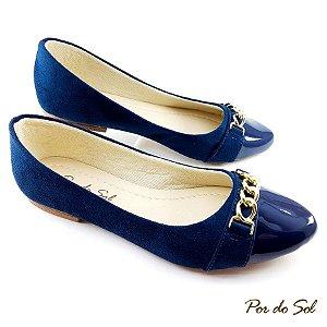 Sapatilha em Nobuck Azul Marinho com Bico em Verniz e ABS - B15-2360