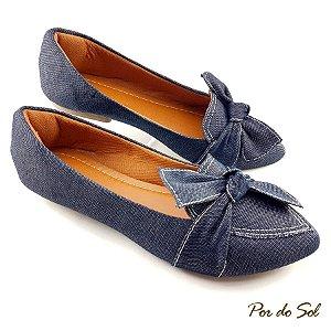Sapatilha em Jeans Escuro com Laço - A26-2362