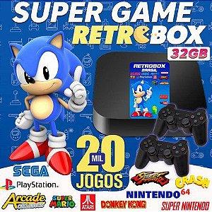 Retrobox 32GB e mais de 20 mil jogos com controle de Playstation