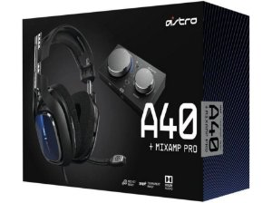 Headset Gamer Astro A40 + Mixamp Pro Tr para PS4 PC e MAC Azul e Preto - LOGITECH