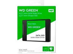 """SSD 480GB WESTERN DIGITAL SATA 3.0 2,5"""" E  LEITURA 545MB/s E GRAVAÇÃO 430MB/s GREEN"""