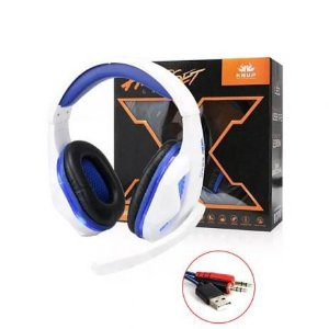Headphone Gamer Led Com Microfone Super Bass Branco Kp-396 KP-396 KNUP
